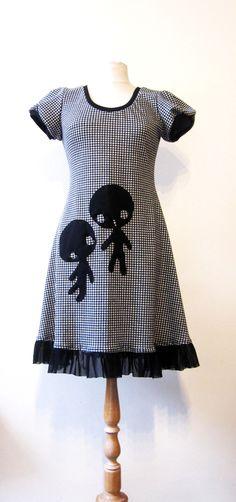 petite robe jersey pied de poule extensible : Robe par la-soeur-de-christel