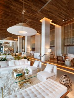 Inside the new 1 Hotel South Beach Miami A fresh and natural approach to the interiors was taken by Meyer Davis Studio. The use of lightly coloured, reclaimed timbers and a sea inspired colour scheme a change from the typically art-deco style of the Co South Beach Miami, South Beach Hotels, Florida Hotels, Orlando Florida, Destin Florida, Naples Florida, Hotel Miami, W Hotel, Hotel Pool