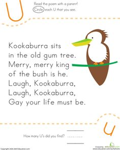 How many U's does the kookaburra have in his nursery rhyme? Kids find and count each letter U in the song on this kindergarten reading worksheet. Nursery Rhymes Kindergarten, Nursery Rhymes Lyrics, Kindergarten Songs, Preschool Music, Kindergarten Reading, Rhymes Songs, Kids Songs, Montessori, Reading Worksheets