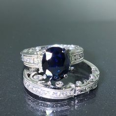GIA Certified 14k White gold natural Diamond & Blue Sapphire 2pc Ring 5.13ctw #Engagement
