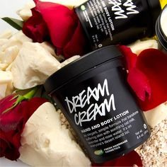 DREAM CREAM HAND AND BODY LOTION - My body simply thirsts for this stuff. As soon as I put it on, my body DRINKS it! Oatmilk, lavender and chamomile make it extremely soothing and the beautiful smell will make you HAPPY. LOVE this stuff!
