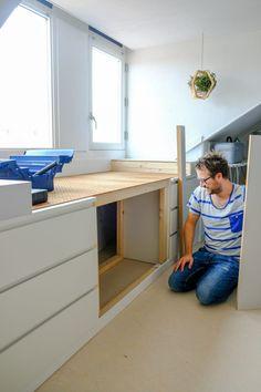 Ikea Hack Malm - A DIY bed bench from MALM cupboards - A good story - bedside bench dormer ikea diy - Ikea Hack Malm, Hacks Ikea, Diy Hacks, Bedroom Hacks, Ikea Bedroom, Attic Bedrooms, Ikea Hack Bathroom, Closet Ikea, New Swedish Design