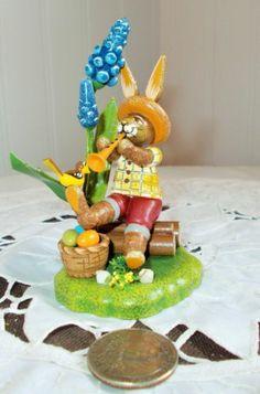 New Erzgebirge Easter Rabbit Bunny 3 w Trumpet from Hubrig Germany | eBay