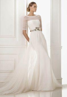 Metallic belt and sheer ~ Pronovias 2015 Bridal Collection | bellethemagazine.com