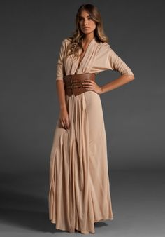HAUTE HIPPIE Chiffon Matte Jersey Belted Column Gown in Nude at Revolve Clothing