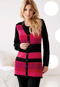Cardigan beauty <3  Trendy & pen cardigan med knepping stripet i varme rosa farger. Cardigan jakken er av mykt materiale med stretch.