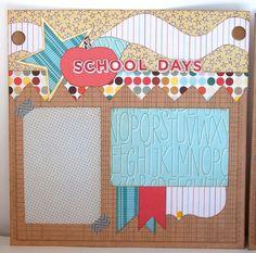 School Days Premade 2 Page 12x12 Scrapbook Layout