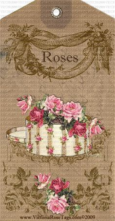 Attic Grunge Old World Style Pink Roses Hat Box Set of 4 You Print & Hand Embellish as many as you like for personal use. Printable Digital Hang Tags, our Original & Exclusive Designs from Victoriarosetags.com