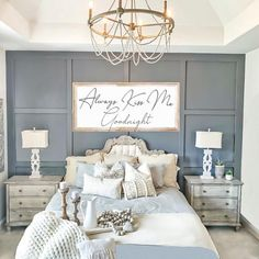 board and batten wall Modern Board and Batten Accent Wall - Wainscoting - Modern Farmhouse Master Bedroom - French Shabby Chic - Gray - Grey - Neutral - via Farmhouse Master Bedroom, Master Bedroom Makeover, Master Bedroom Design, Home Bedroom, Master Bedroom Decorating Ideas, Master Bedrooms, Chic Bedroom Ideas, Spare Bedroom Ideas, Bedroom Rustic