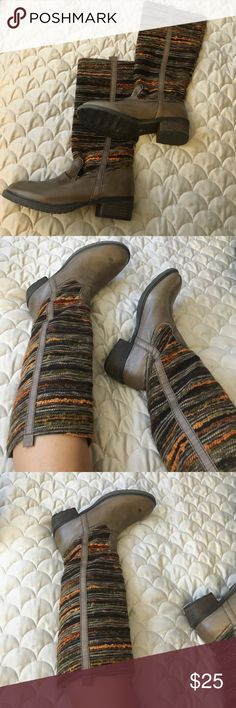Boots that were only worn once . Leather upper size 9 with cotton legging . Comfy and cute ! Sbicca Shoes Combat & Moto Boots