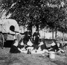 In 1884, the #SistersOfMercy traveled by covered wagon from Lacon, Illinois to Indian Territory, now Oklahoma.  Seems a tight fit for six adults. #tbt #ThrowbackThursday