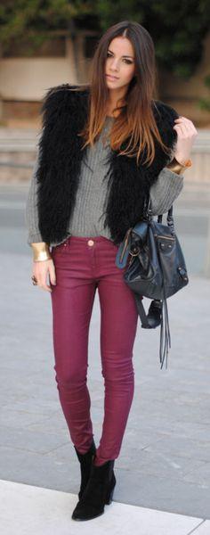 Colored Jeans + Fur Vest = Fabulous