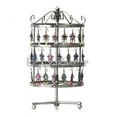 New Vintage Silvery 144 Earring Jewelry Holder Round