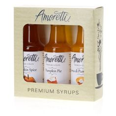 Amoretti Premium Pumpkin Syrups 50ml 3 Pack. Although these flavors are synonymous with fall and the Thanksgiving holiday, this is destined to be one of our best selling samplers all year around! Ideal for coffee, tea, soda, seltzer, iced tea, cocktails, etc. Proudly made in Southern California. 3.5 servings per 50ml bottle. Made with natural flavor. The Amoretti Pumpkin Sampler 3-Pack contains one 50ml bottle of each of Amoretti's Premium Pumpkin flavored syrups.