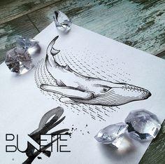 Dotwork whale geometric tattoo