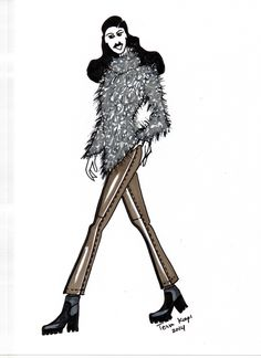 Mohair pullover on skinny leather pants, illustrated by TESSA KOOPS www.tessakoops.com
