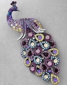 #MultiColoured #Diamond #Peacock #Brooch #Pins #Jewellery