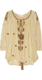 ETOILE ISABEL MARANT  Baker embroidered cotton-gauze smock top - love!