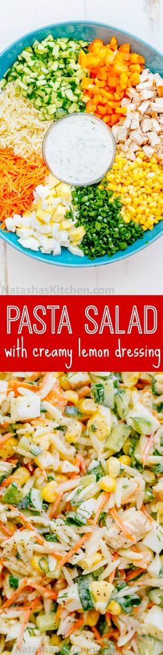 salad is loaded, hearty and satisfying. The creamy lemon dill dressing ...