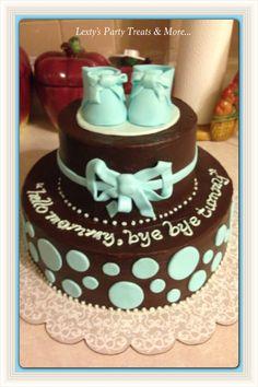 Baby Shower Cake! Chocolate Ganache frosting!