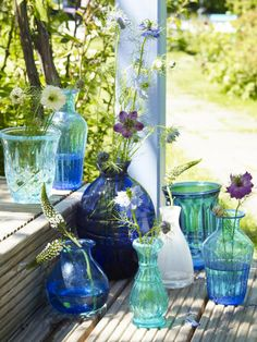 Vintage vases in blue and green.