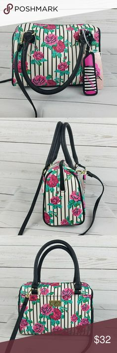 "Betsey Johnson Mini Barrel Floral Harlet bag Betsey Johnson Mini Barrel Floral Harlet bag  Approx 9"" across  Approx 7.5"" tall Betsey Johnson Bags Mini Bags"