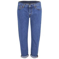 Levi's Women's 501 Mid Waist Tapered Jeans - Surf Shack ($130) ❤ liked on Polyvore featuring jeans, blue, levi's, faded blue jeans, button fly jeans, destructed jeans and tapered jeans