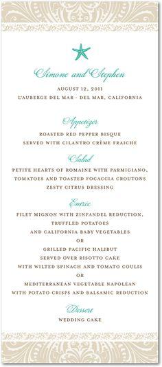 menu for reception.