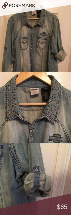 Harley Davidson Shirt Jacket Denim. Light weight. Studded collar. Convertible sleeves.  Fits more like a 2X. Harley-Davidson Jackets & Coats Jean Jackets