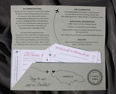 Pink & Gray Swirls, Airplanes & Jamaica Map Airline Ticket Wedding Invitations
