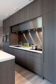 Kitchen Cabinets · Cocina Blanca Y Gris Moderna Horno Integrado Balsa