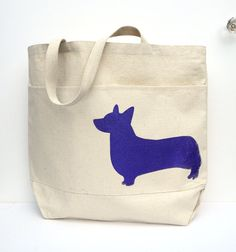 Corgi Canvas Tote - Large Screen Printed Pembroke Welsh Corgi Tote 10% goes to corgipals charity!