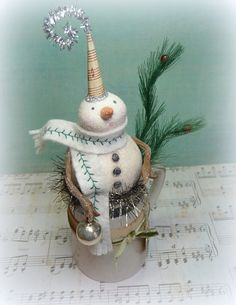 Holiday Decor Vintage Style ENGLISH PITCHER Snowman in Antique Pottery Pitcher Folk Art Christmas Decoration Figurine