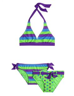 3 Piece Stripe Dot Bikini Swimsuit | Girls Swimsuits Swimwear | Shop Justice for Brianna