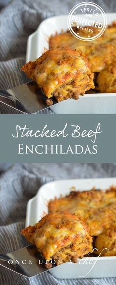 Stacked Beef Enchiladas Aka Mexican Lasagna With Layers Of Corn Tortillas, Spicy Ground Beef, Roasted Tomato Salsa, And Cheese, Its A Cross Between Traditional Rolled Enchiladas And Lasagna Yet Easier To Make Than Both. Its A Great Make-Ahead Dish F Enchilada Casserole Beef, Casserole Recipes, Enchilada Recipes, Pastas Recipes, Cooking Recipes, Recipes Dinner, Diet Recipes, Healthy Recipes, Carnitas