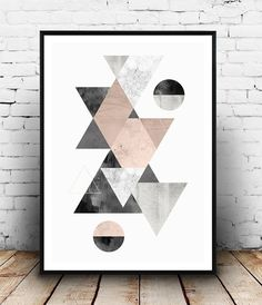 Watercolor print, Abstract poster, Scandinavian print, mid century modern, pink…