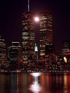 Photographic Print: World Trade Center Poster : More New York with the Pillars that held the sky. World Trade Center Nyc, Trade Centre, Full Moon Rising, Moon Rise, Skier, A New York Minute, Vintage New York, Night City, Night Night