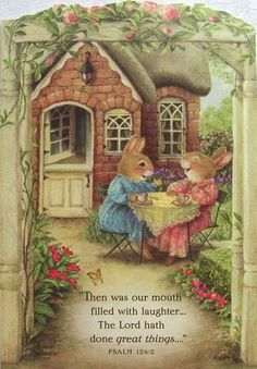 Susan Wheeler Holly Pond Hill Rabbit Garden Tea Encouragement Greeting Card