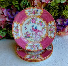 4 Beautiful Vintage Minton Porcelain Salad Plates ~ Cockatrice Pink 9646 #Minton