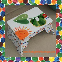 Very Hungry Caterpillar Hand Painted Children's Step Stool Personalize Nursery Art