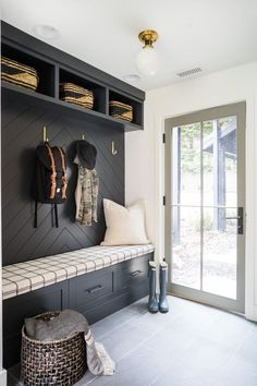 Home Remodel Open Concept Incredible Hall Tree Examples To Fit Any Interior Or Taste Mudroom Laundry Room, Bench Mudroom, Mudroom Cubbies, Mudroom Cabinets, Entry Bench, Hallway Ideas Entrance Narrow, Modern Hallway, Entrance Hall Decor, Entryway Decor