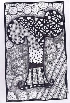 Zentangle, Letter T, Zebra Letters, name, bunting, alphabet. £3.50, via Etsy.
