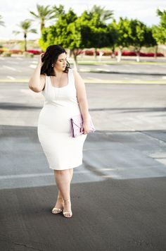 Crystal Coons faces her fears and wears a white plus size bodycon dress Plus Size Bodycon Dresses, Plus Size Vintage Dresses, Evening Dresses Plus Size, Tight Dresses, Nice Dresses, Halter Dresses, Flattering Dresses, Stunning Dresses, Dresses Uk