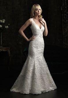 V Back Chapel Train V Neck Mermaid Lace Wedding Dress - 1300103548B - US$269.99 - BellasDress
