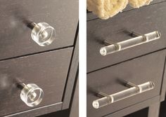 Lucite Pulls {awesome source for knobs, pull, & other bathroo accessories}