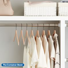 "These wood hangers have a fresh, natural look and a super-slim profile that helps maximize closet space. At just 1/4"" thick, they're among the slimmest wooden hangers we've ever developed. Yet they're remarkably durable. Each shirt hanger is designed to preserve garment shape and features notched arms to hold small straps in place. Made from natural beech wood, an easily renewable resource. Maximize Closet Space, Small Space Organization, Wooden Hangers, Preserve, Your Space, Wardrobe Rack, Small Spaces, Arms, Profile"