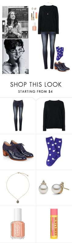 """""""Coffee Date w/ Spencer"""" by wildflower-wonderland ❤ liked on Polyvore featuring Frame, Monsoon, P.S. from Aéropostale, Topshop, Essie, Burt's Bees and Stila"""