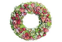 "24"" Pink & Green Rose & Hydrangea Wreath"