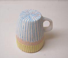 Pêche jaune et Turquoise pincent Pot porcelaine rayé par Keramikka
