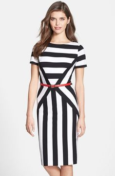 Nue by Shani Belted Stripe Ponte Sheath Dress available at #Nordstrom